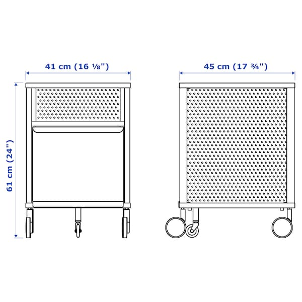 BEKANT almacenaje con ruedas rejilla negro 41 cm 45 cm 61 cm