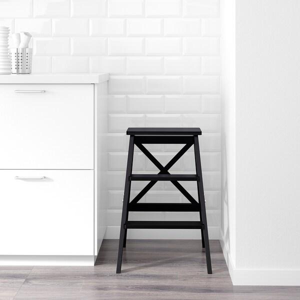 BEKVÄM Escalera, 3 peldaños, negro, 63 cm