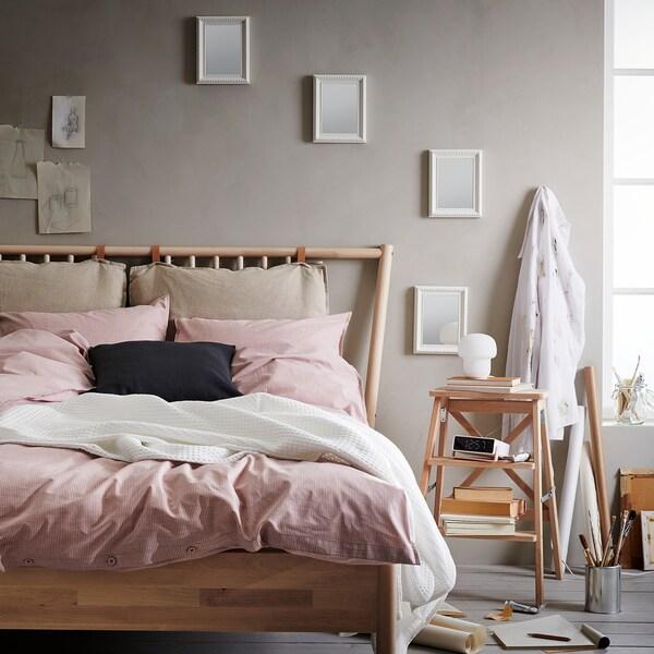 BERGPALM Funda nórdica y 2 fundas almohada, rosa/raya, 240x220/50x60 cm