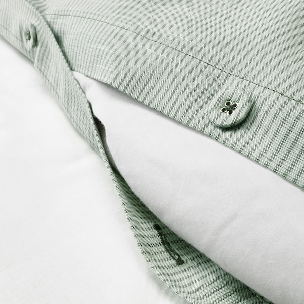 BERGPALM Funda nórdica y funda de almohada, verde/raya, 150x200/50x60 cm