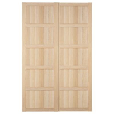 BERGSBO Puertas correderas, 2 uds, efecto roble tinte blanco, 150x236 cm