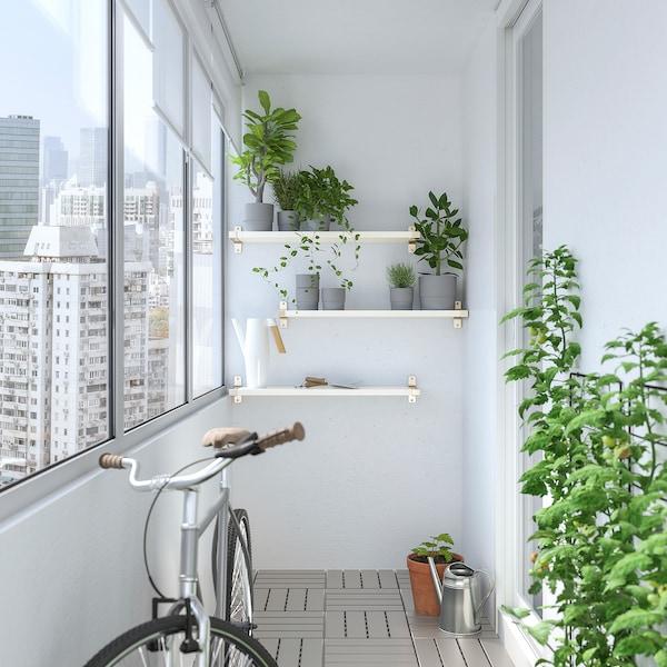 BERGSHULT / GRANHULT Combi estante pared, blanco/niquelado, 80x20 cm