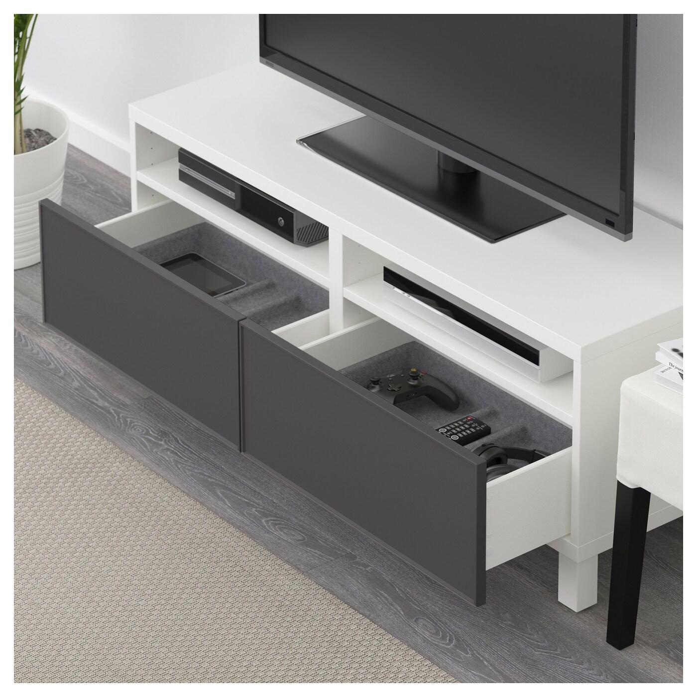 Best mueble tv con almacenaje blanco grundsviken gris oscuro 120 x 40 x 48 cm ikea - Muebles almacenaje ikea ...
