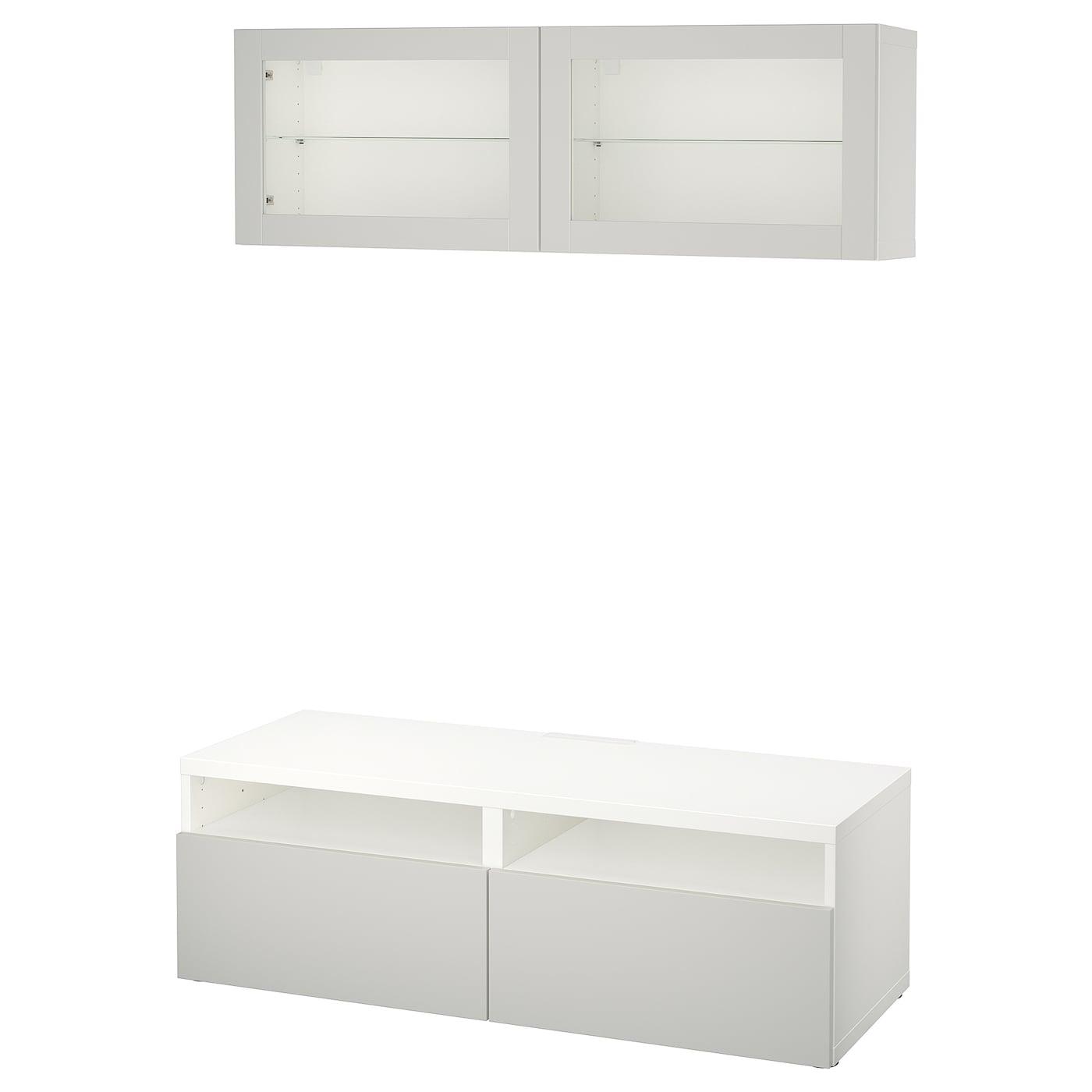 Best mueble tv con almacenaje blanco lappviken gris claro vidrio incoloro 120 x 20 40 x 166 cm - Muebles almacenaje ikea ...