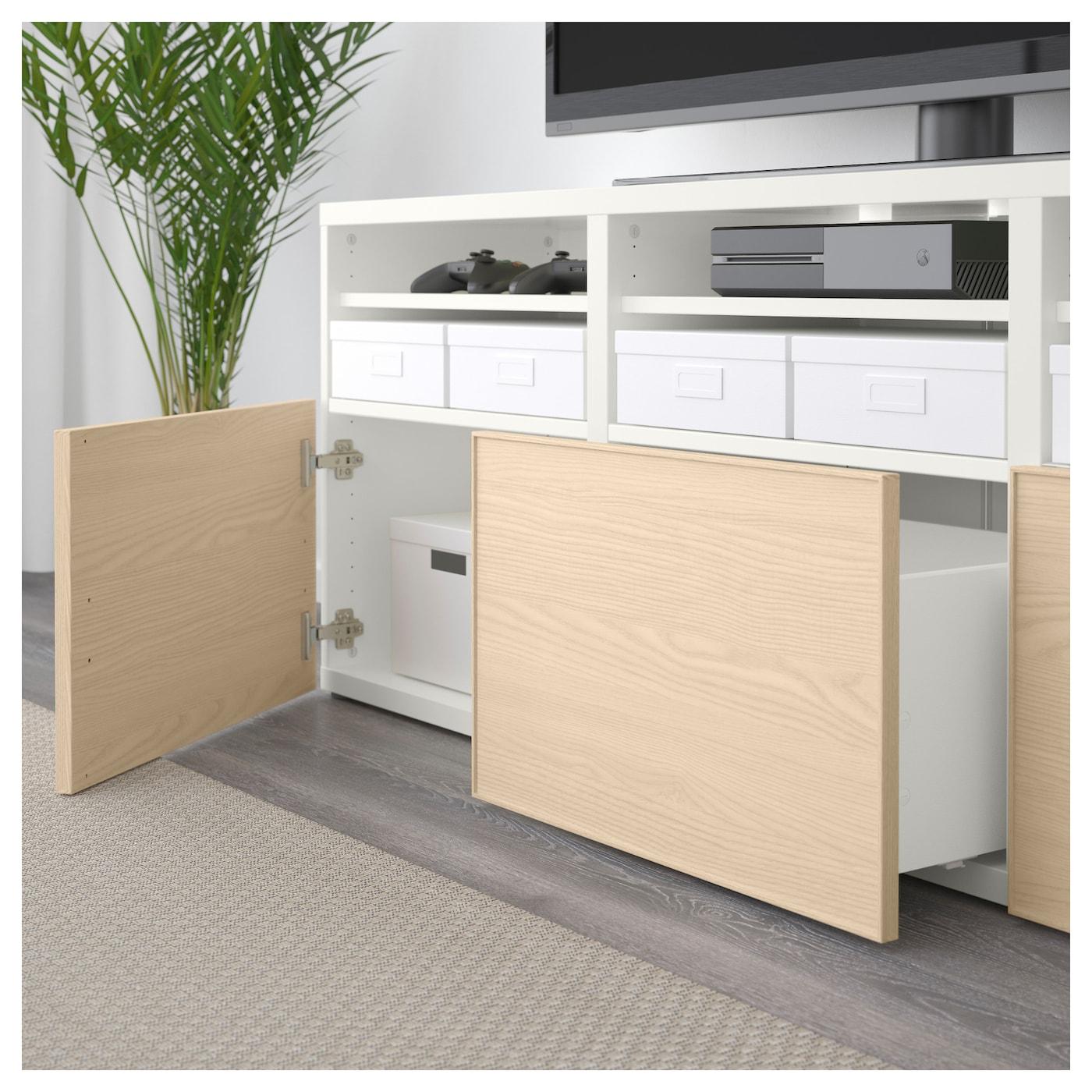 Best mueble tv con almacenaje blanco sindvik inviken chapa fresno 180 x 40 x 192 cm ikea - Muebles almacenaje ikea ...