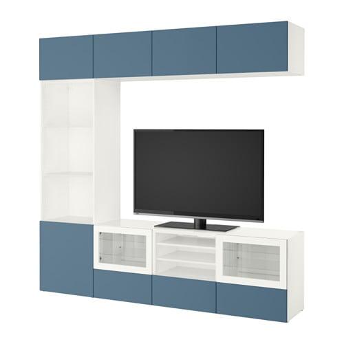 BESTÅ Mueble TV con almacenaje Blanco valviken/azul oscuro vidrio ...
