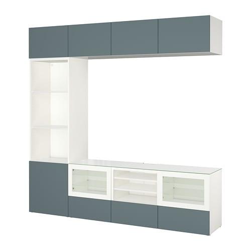 Best mueble tv con almacenaje blanco valviken vidrio for Muebles almacenaje ikea