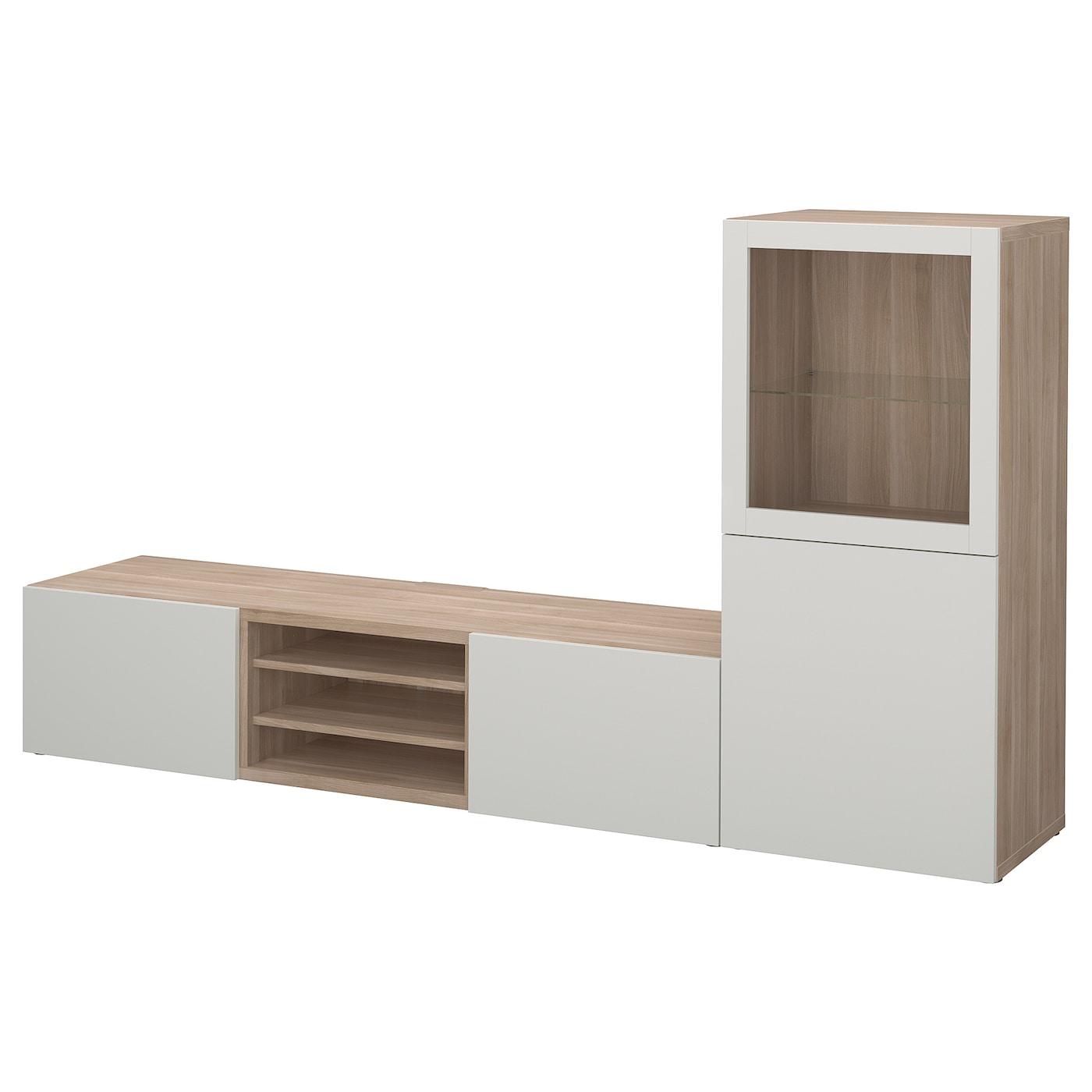 Best mueble tv con almacenaje efecto nogal tinte gris lappviken vidrio transparente gris claro - Muebles almacenaje ikea ...