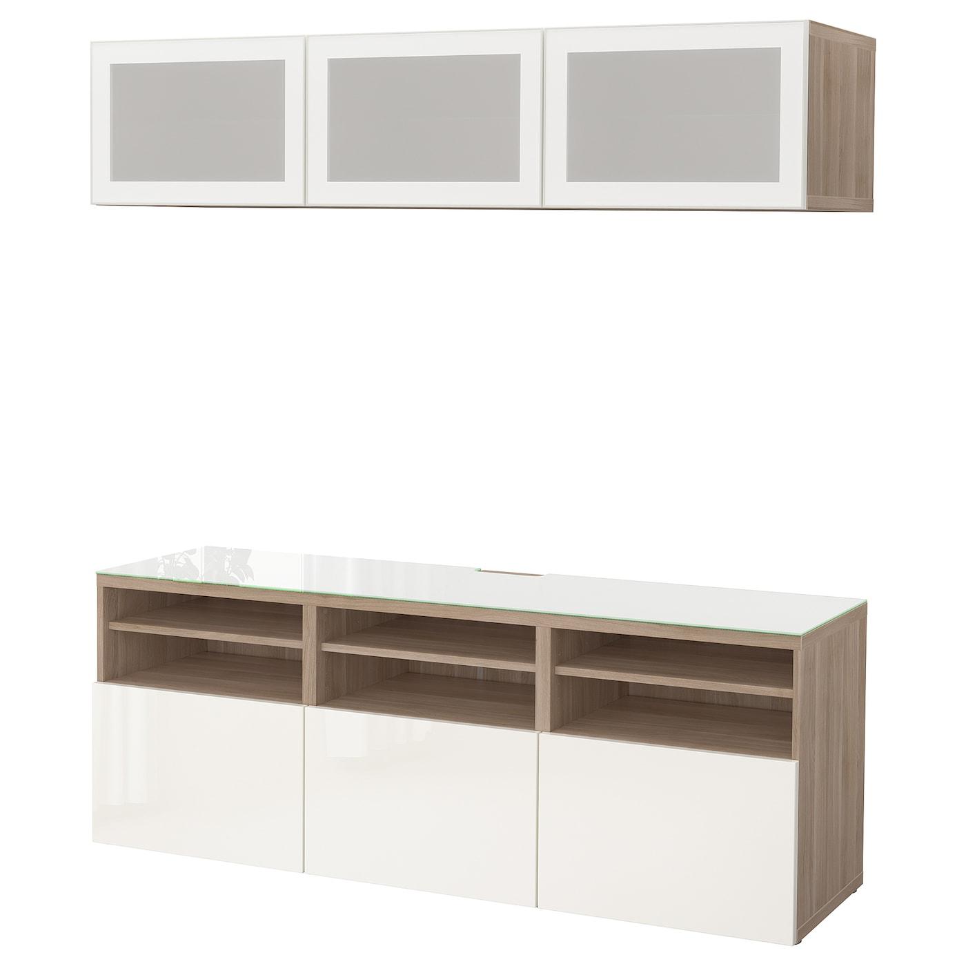 Best mueble tv con almacenaje efecto nogal tinte gris selsviken alto brillo vidrioesmerilbl 180 - Muebles almacenaje ikea ...