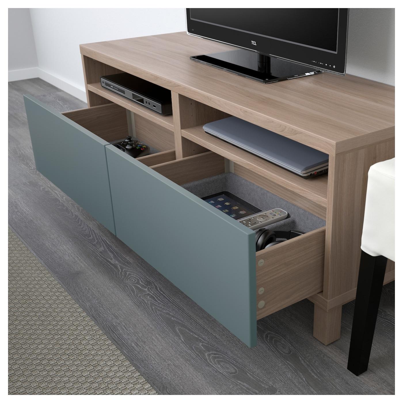 Best mueble tv con almacenaje efecto nogal tinte gris valviken gris turquesa 120 x 40 x 48 cm - Muebles almacenaje ikea ...