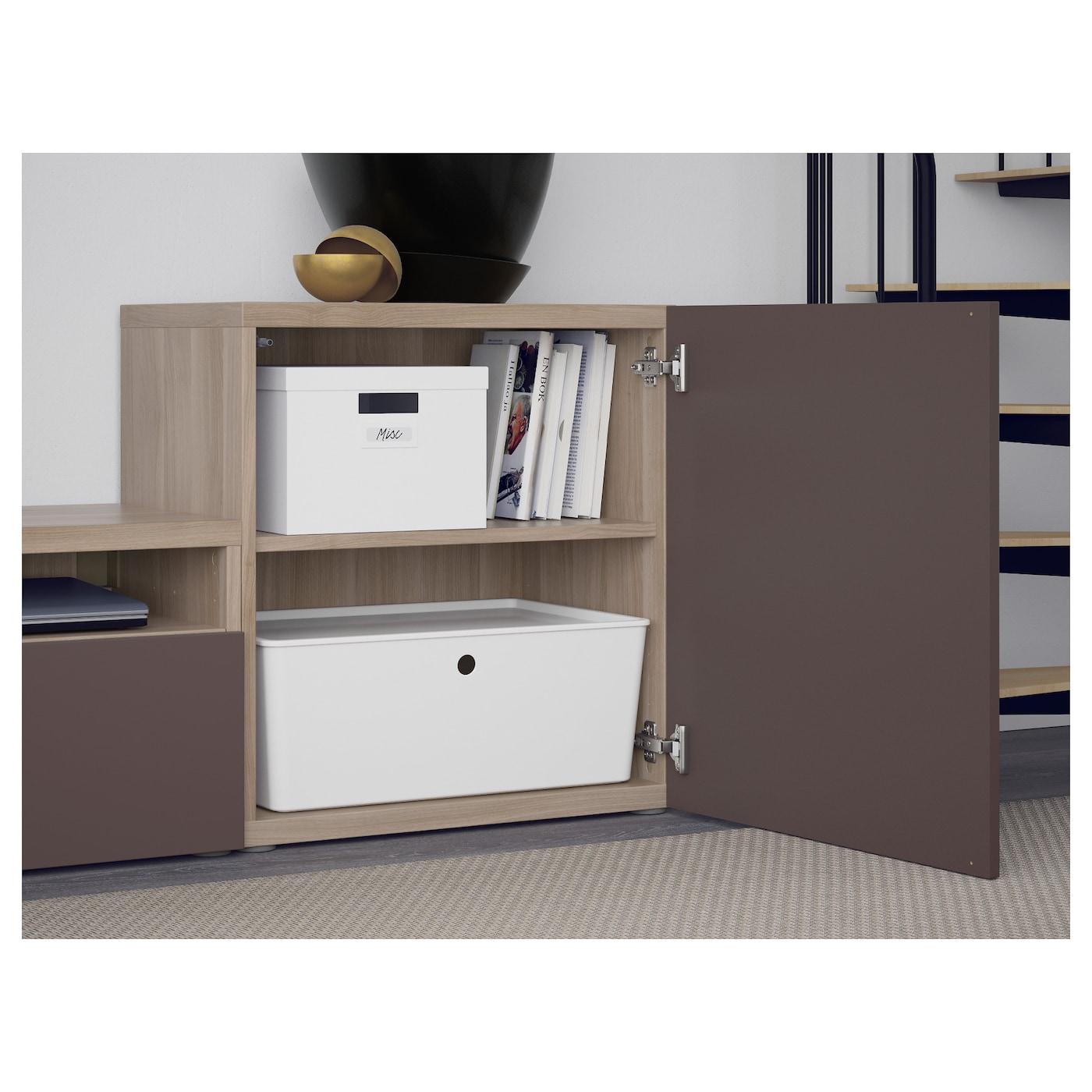 Best mueble tv con almacenaje efecto nogal tinte gris valviken vidrio transparente marr n 300 x - Muebles almacenaje ikea ...