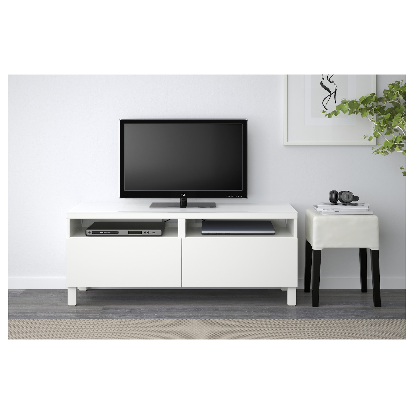 Besta Mueble Tv Con Almacenaje Lappviken Blanco 120 X 40 X 48 Cm Ikea