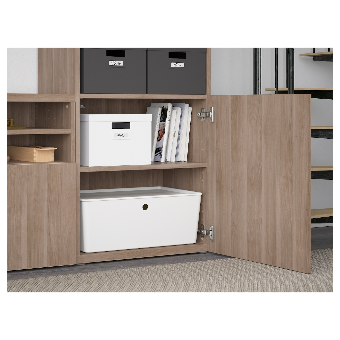 Best mueble tv con almacenaje lappviken sindvik efecto nogal tinte gr vdr transp 300 x 40 x 230 - Muebles almacenaje ikea ...