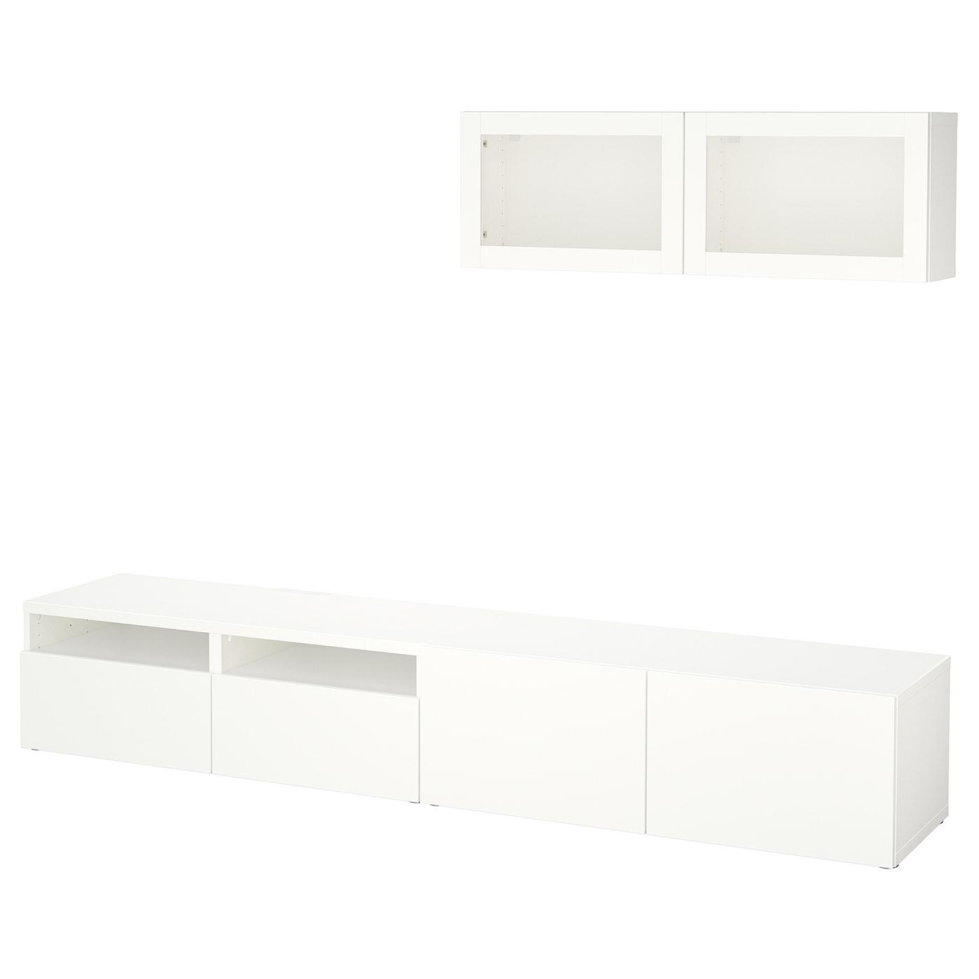 Best mueble tv con almacenaje lappviken sindvik vidrio transparente blanco 240 x 20 40 x 166 cm - Muebles almacenaje ikea ...