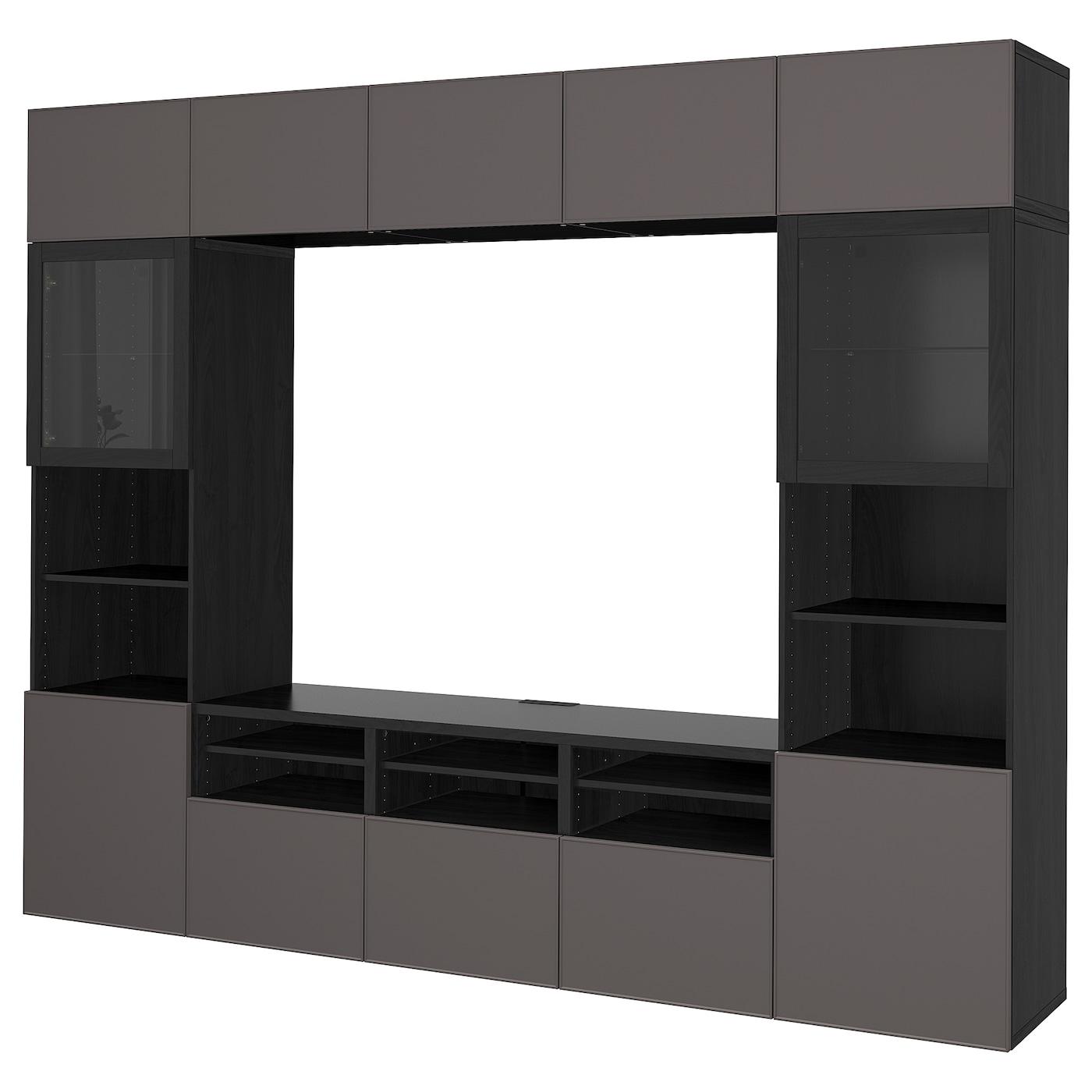 Best mueble tv con almacenaje negro marr n grundsviken gris oscuro vidrio incoloro 300 x 40 x - Muebles almacenaje ikea ...