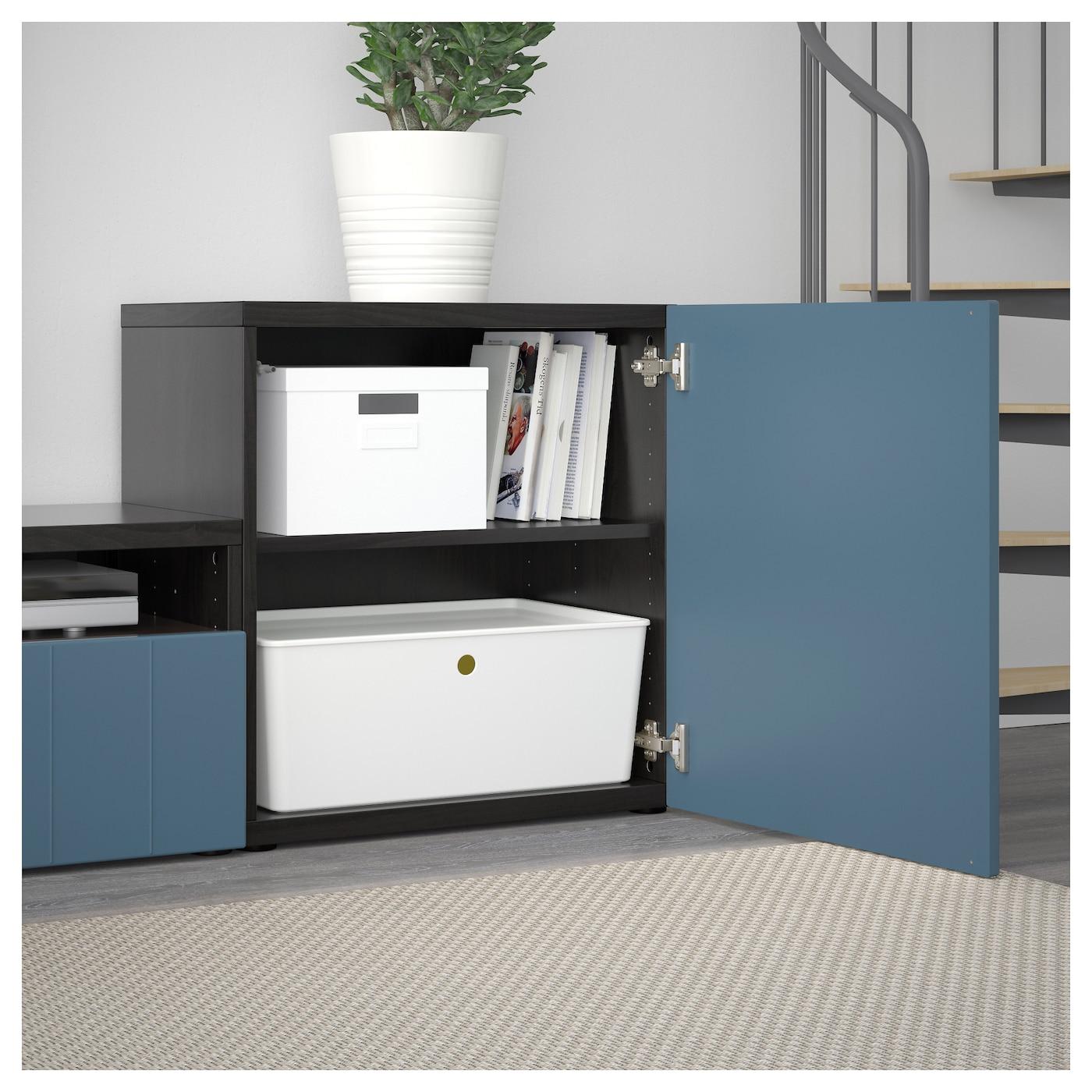Best mueble tv con almacenaje negro marr n hallstavik azul oscuro vidrio incoloro 300 x 20 40 x - Muebles almacenaje ikea ...