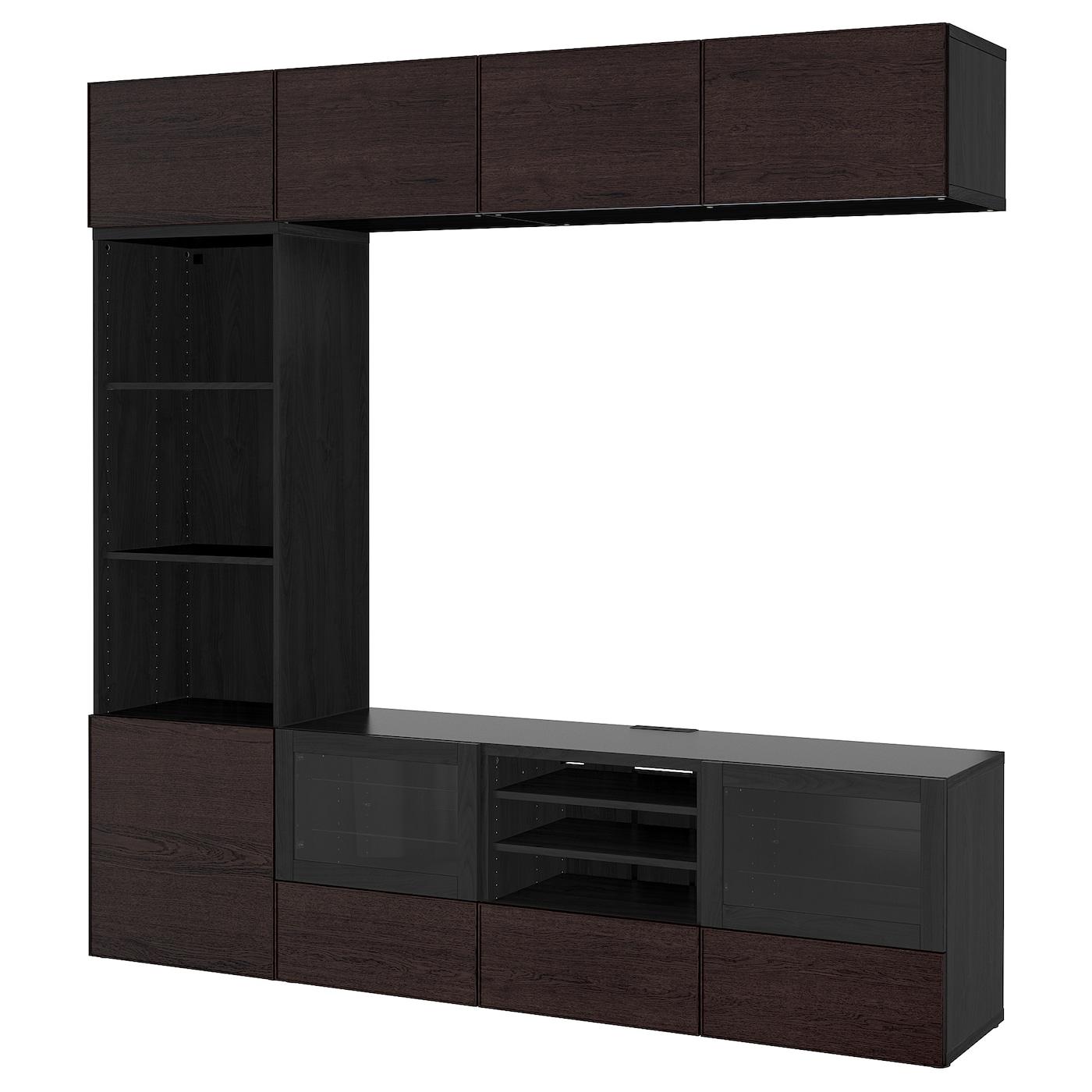 Best mueble tv con almacenaje negro marr n inviken vidrio transparente negro marr n 240 x 40 x - Muebles almacenaje ikea ...
