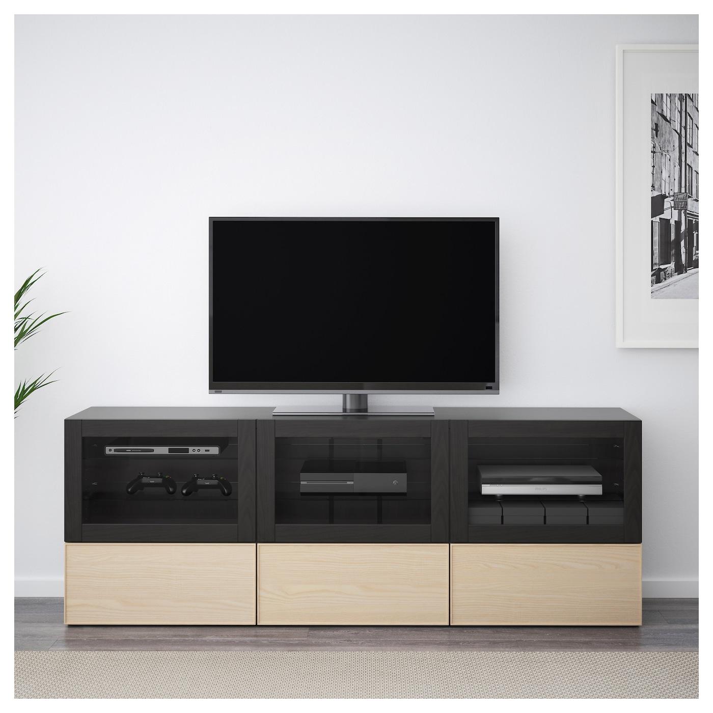 Best mueble tv con almacenaje negro marr n sindvik inviken chapa fresno 180 x 40 x 64 cm ikea - Muebles almacenaje ikea ...