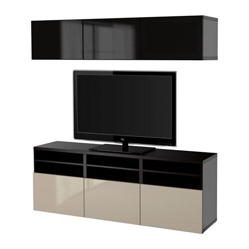 BESTå Alm TV negro marrón Selsviken altobrill vidrio ahumado beige, riel para cajón con cierre
