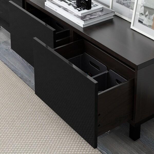 BESTÅ Almacenaje con cajones, negro-marrón/Selsviken alto brillo/negro, 180x40x48 cm
