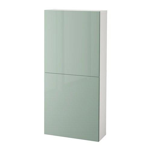 BESTÅ - Armari de paret amb 2 portes, blanc, Selsviken molt brillant/gris, verd clar, molt brillant/verd clar