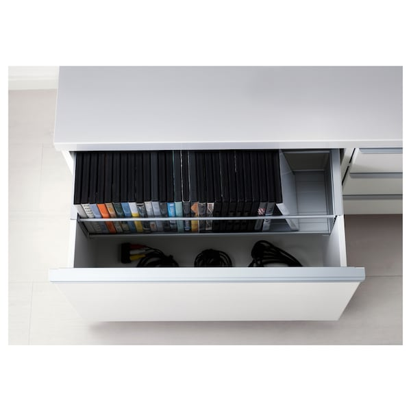 BESTÅ BURS Mueble TV, alto brillo blanco, 180x41x49 cm