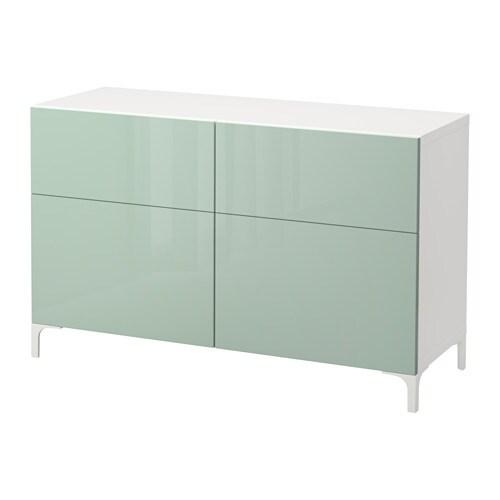 BESTÅ - Comb. emmagatzematge i portes/calaixos, blanc, Selsviken molt brillant/gris, verd clar