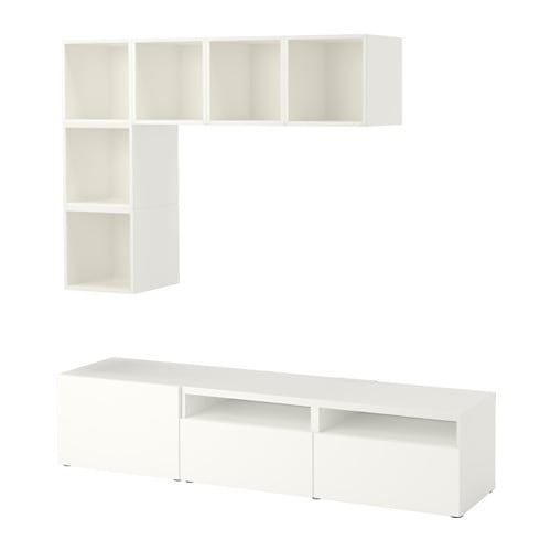 best eket combinaci n armario tv blanco riel para caj n con cierre suave ikea. Black Bedroom Furniture Sets. Home Design Ideas