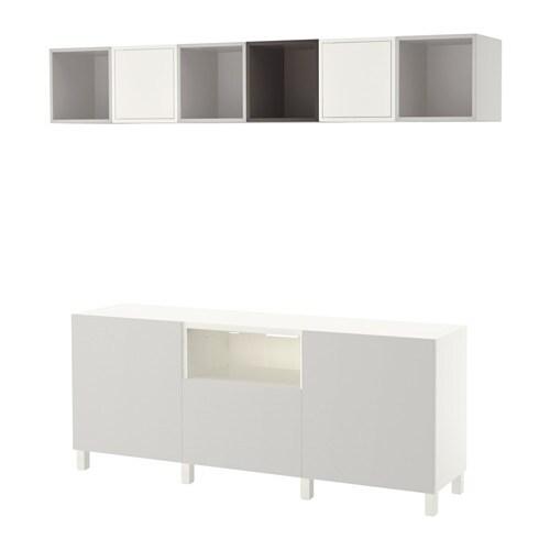 Best eket mueble tv con almacenaje armario blanco gris oscuro gris claro riel p caj n - Mueble ikea tv blanco ...