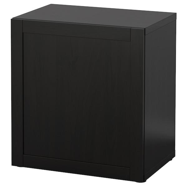 BESTÅ Estante con puerta, negro-marrón/Hanviken negro-marrón, 60x42x64 cm