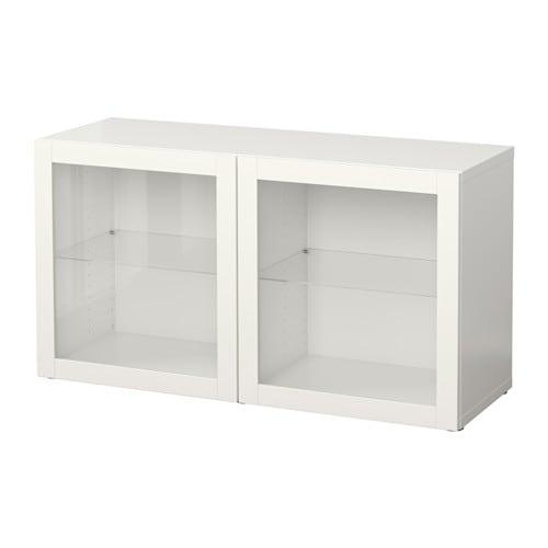 Best estante con puertas de vidrio sindvik blanco ikea for Puertas de paso ikea