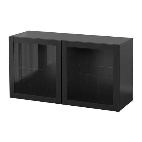Best estanter a con puertas de vidrio sindvik negro for Estanterias con puertas ikea