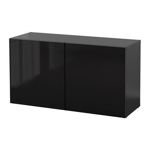 Best estanter a con puertas de vidrio negro marr n for Estanterias con puertas ikea
