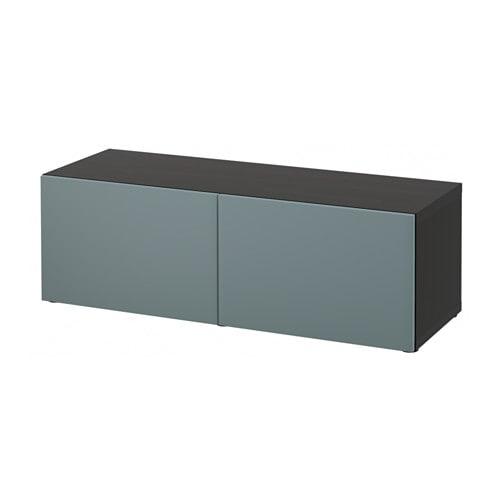 Best estanter a con puertas negro marr n valviken gris turquesa ikea - Estanterias besta ikea ...