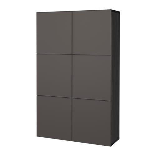 Mueble de salón con almacenaje, negro-marrón, Grundsviken gris oscuro