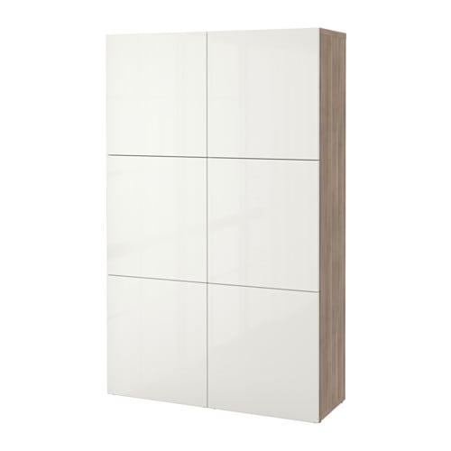 BESTÅ - Combinació d'emmagatzematge amb portes, efecte noguera, tint gris, Selsviken molt brillant/blanc