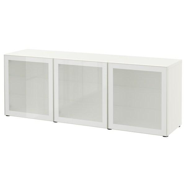 BESTÅ Mueble salón, blanco/Glassvik vidrio esmerilado blanco, 180x42x65 cm