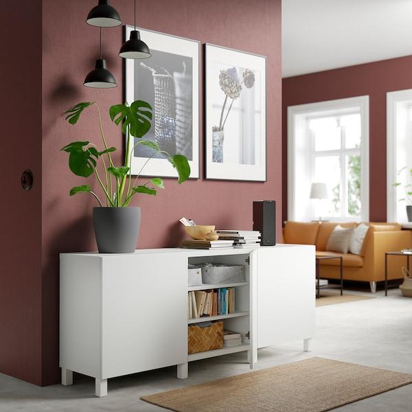 BESTÅ Mueble salón, blanco/Lappviken/Stubbarp blanco, 180x42x74 cm