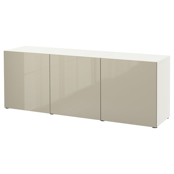 BESTÅ Mueble salón, blanco/Selsviken alto brillo/beige, 180x42x65 cm