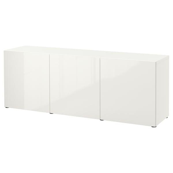 BESTÅ Mueble salón, blanco/Selsviken alto brillo/blanco, 180x42x65 cm