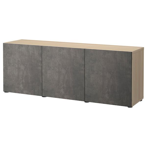 BESTÅ Mueble salón, efecto roble tinte blanco Kallviken/gris oscuro efecto cemento, 180x42x65 cm