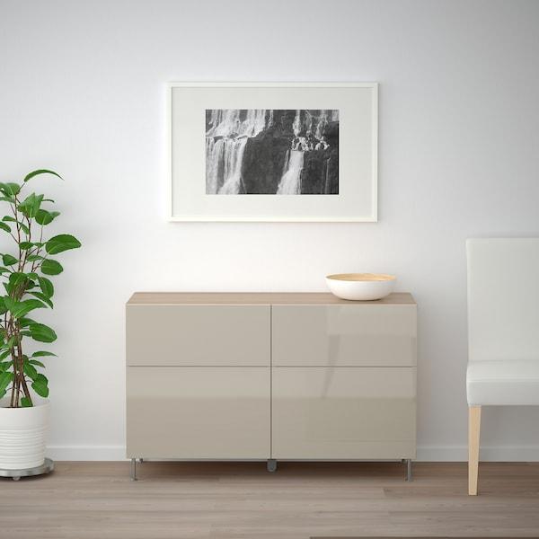 BESTÅ Mueble salón, efecto roble tinte blanco/Selsviken/Stallarp alto brillo/beige, 120x40x74 cm