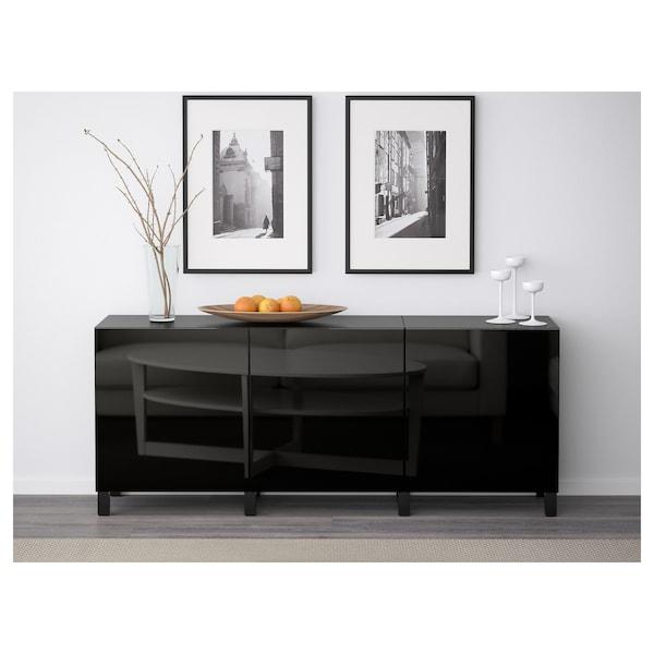 BESTÅ Mueble salón, negro-marrón/Selsviken alto brillo/negro, 180x42x65 cm