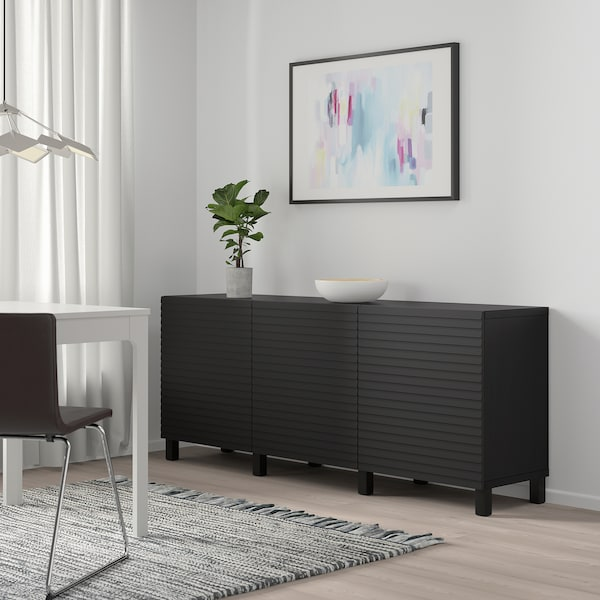 BESTÅ Mueble salón, negro-marrón/Stockviken antracita, 180x42x65 cm