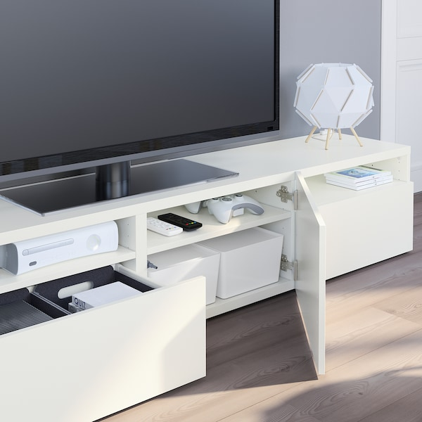 BESTÅ Mueble TV, blanco/Lappviken blanco, 180x42x39 cm