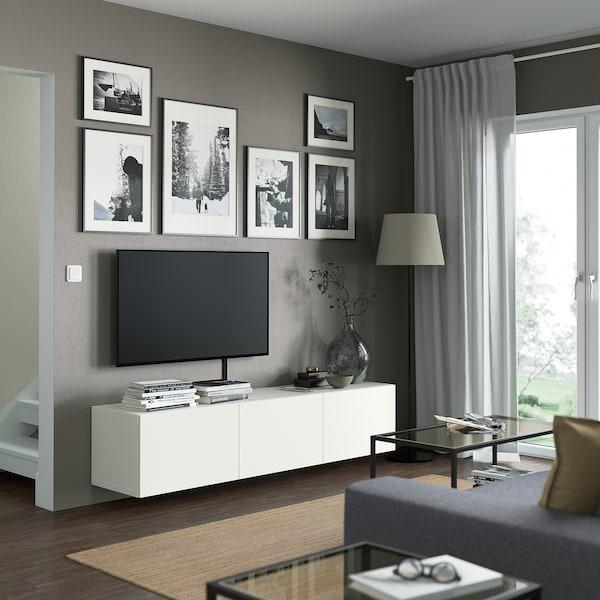 BESTÅ Mueble TV, blanco/Lappviken blanco, 180x42x38 cm