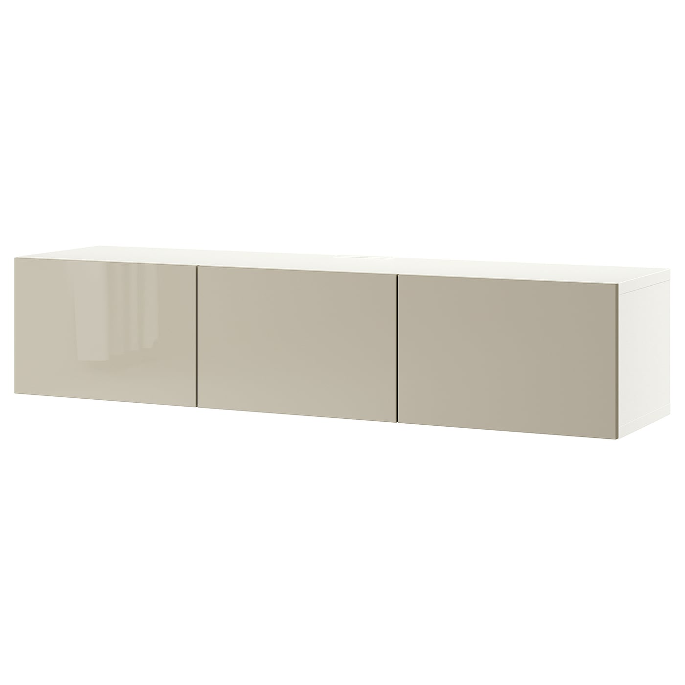 Mueble TV, blanco/Selsviken alto brillo/beige