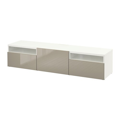 Best Mueble Tv Blanco Selsviken Alto Brillo Beige Riel