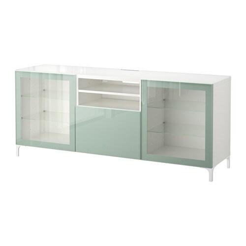 Best mueble tv blanco selsviken alto brillo gris verde for Mueble 4 huecos ikea