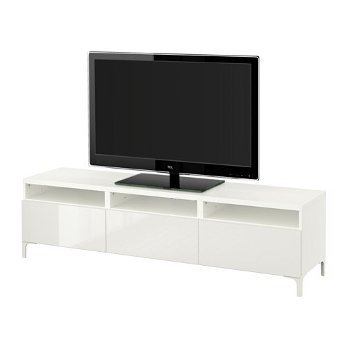 Best mueble tv cajones blanco selsviken alto brillo for Envejecer mueble blanco ikea